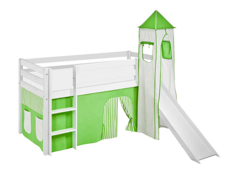 lit sureleve ludique jelle 90x200 cm vert beige lilokids blanc laque avec tour toboggan et rideaux