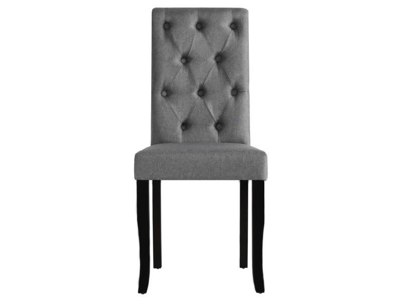 vidaxl chaises de salle a manger 4 pcs gris fonce tissu