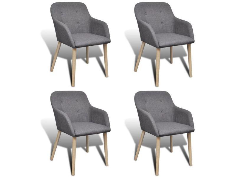 splendide fauteuils collection jerusalem chaise de salle a manger 4 pcs cadre en chene tissu gris fonce