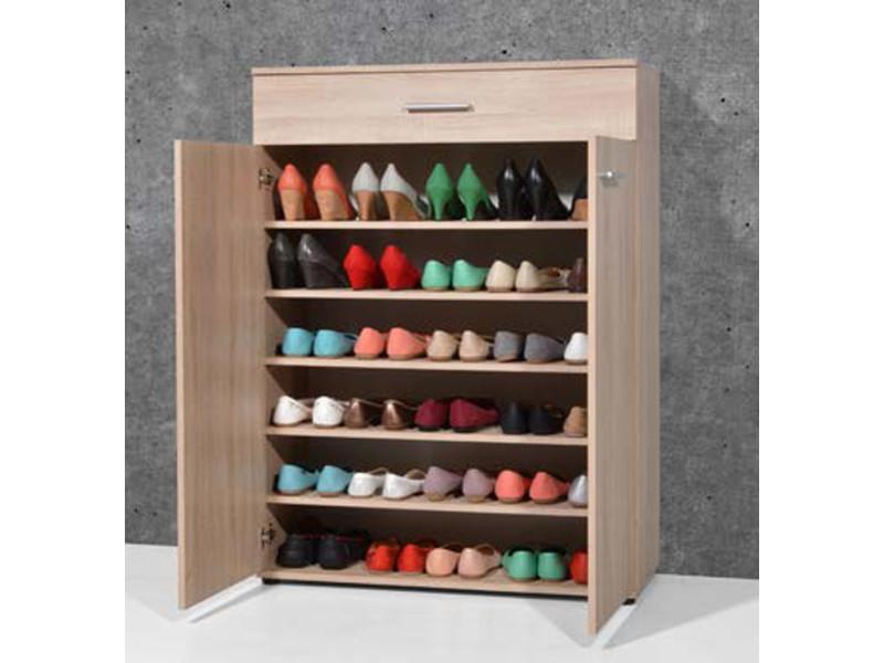 armoire meuble a chaussures chene sonoma avec 2 portes et 1 tiroir l 89 x h 120 x p 37 cm pegane