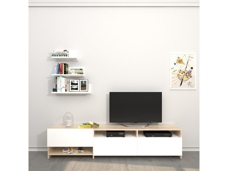 homemania meuble tv campbell avec des etageres des tablettes des portes du salon blanc sonoma en bois 180 x 28 4 x 40 cm