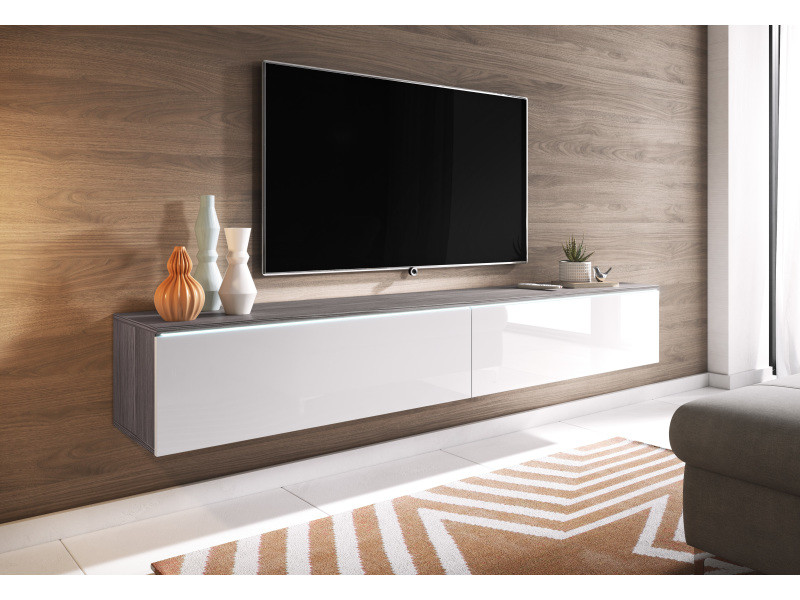 furnix meuble tv supspendu banc tv branco 180 cm chene bodega blanc brillant avec led