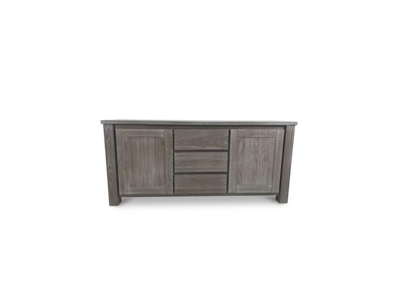 buffet 2 portes 3 tiroirs bois massif gris gabriel l 190 x l 45 x h 86 5 neuf