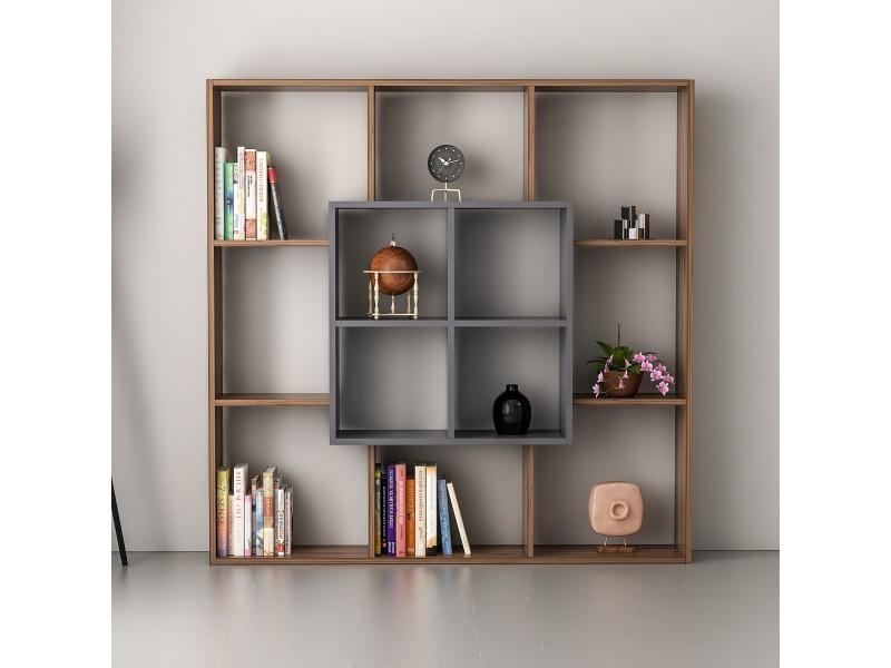 homemania bibliotheque leef avec etageres meuble de rangement pour salon bureau noyer anthracite en bois 136 x 22 x 136 cm