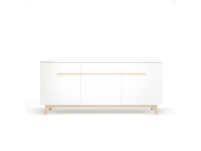 buffet bahut enfilade naiss enfilade avec 3 portes et 3 etageres decor naturel et blanc l 180 x h 80 x l 50 cm
