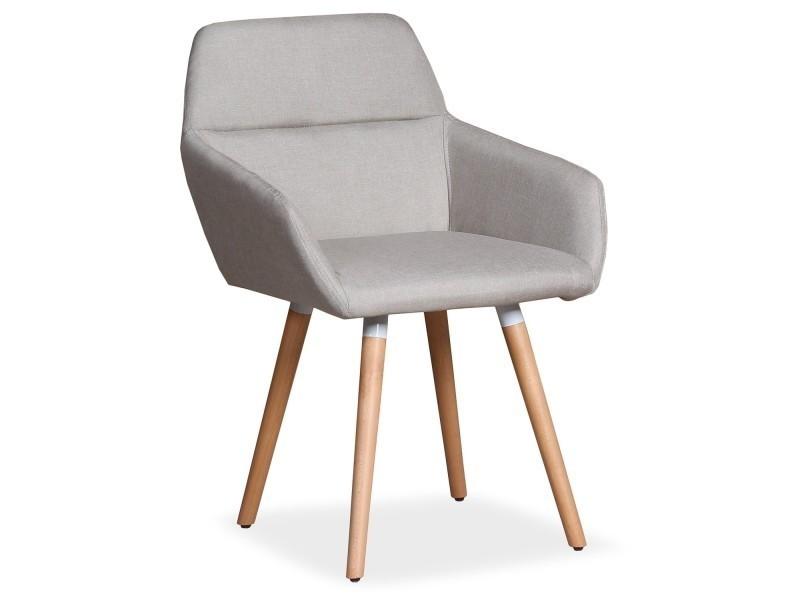 chaise fauteuil scandinave frida tissu beige
