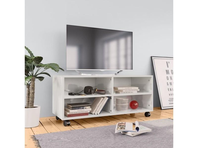 vidaxl meuble tv avec roulettes blanc brillant 90x35x35 cm agglomere