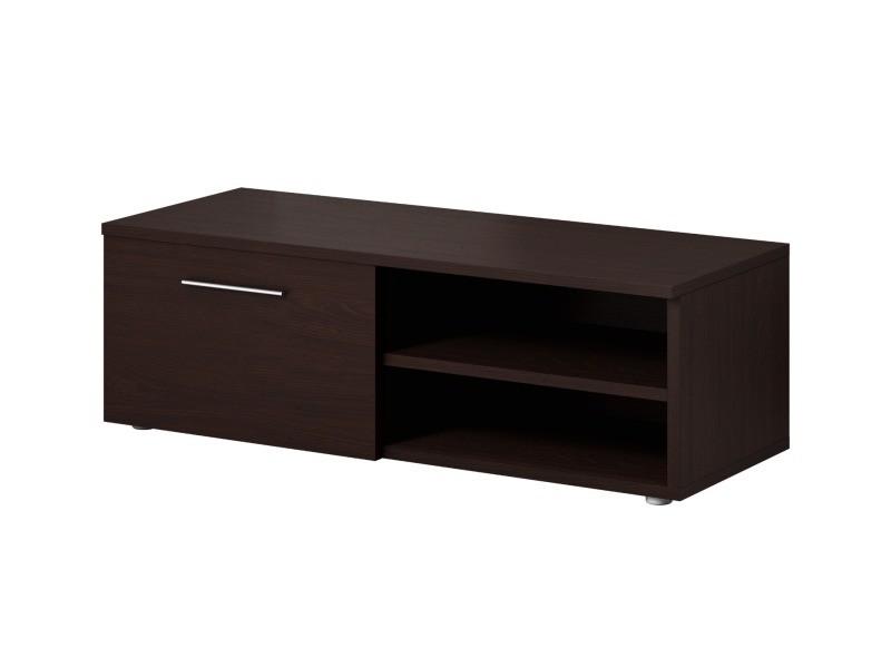meuble tv armoire bas divertissement vegas 90 cm corps avant chene fonce wenge conforama