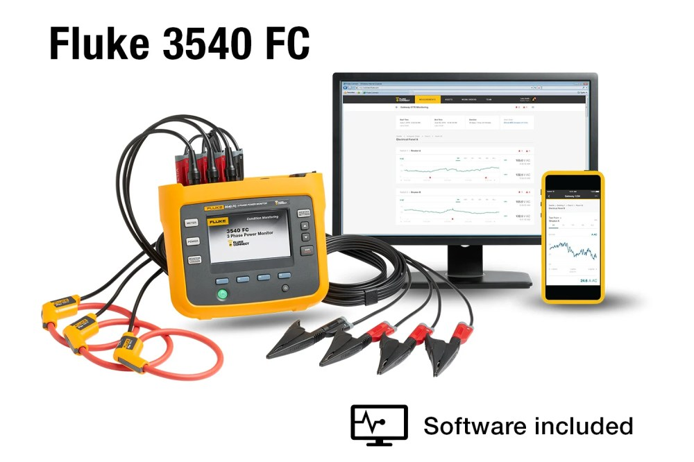 medium resolution of fluke 3540 fc three phase power monitor and condition monitoring kit fluke