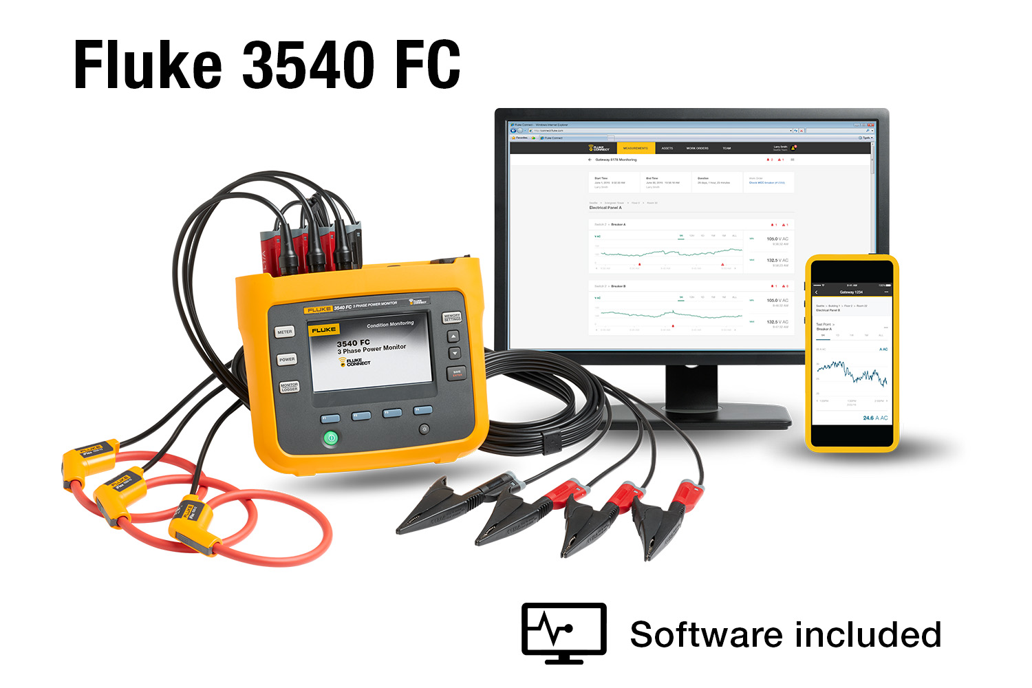 hight resolution of fluke 3540 fc three phase power monitor and condition monitoring kit fluke