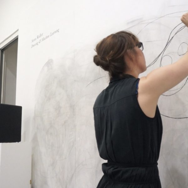 Anna Ridler, Drawing with Sound. Charcoal, specialized headset, musical composition and trained neural networks. 2017.