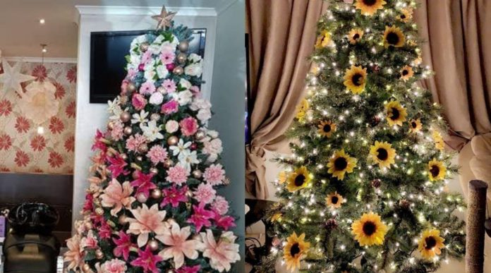 Christmas trees decorated with flowers and sunflowers