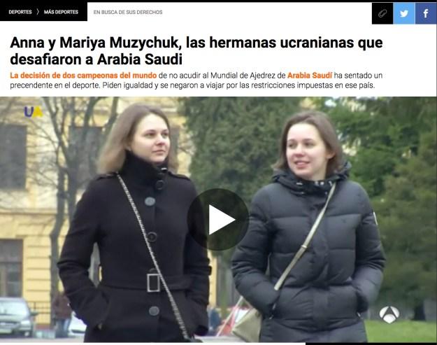 Anna y Mariya Muzychuk, las hermanas ucranianas que desafiaron a Arabia Saudi