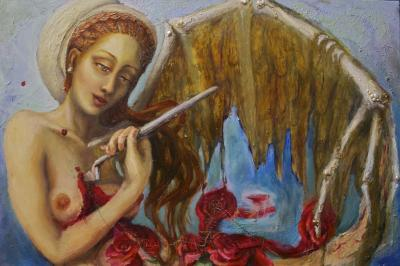 Neoclassical mixed media oil painting on canvas of an angel self-destructing with a palette knife