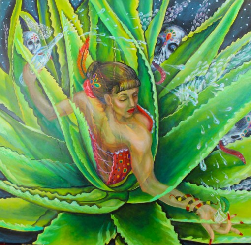 senorita Agave plant bartender flying skulls