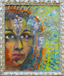 perception art crystal grid painting the virgin mary