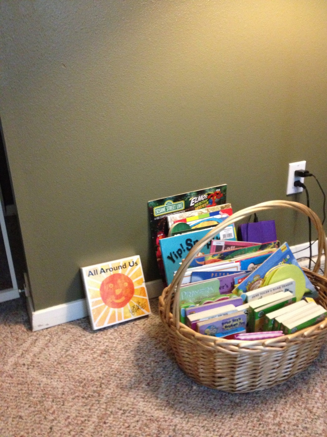 small book basket but children can bring books from other
