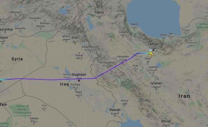 طائرة شحن إيرانية هبطت في مطار دمشق قبيل القصف الإسرائيلي بساعات