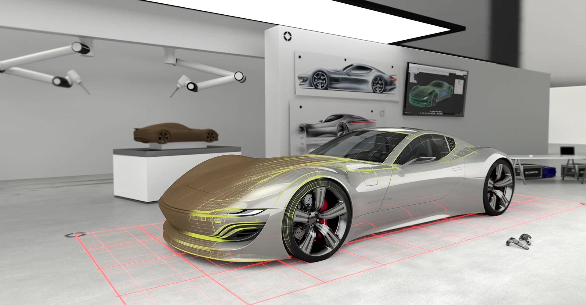 hight resolution of a glimpse into the car design studio of the future