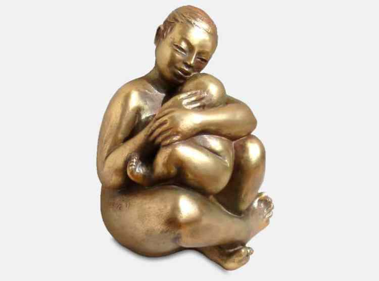 sculpture bronze mère er enfant