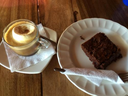 The aforementioned life-altering brownie, alongside my first affogato.