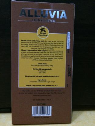 Alluvia Chocolatier Vietnamese Cacao Bean to Bar Milk Chocolate Ginger Back of the Bar