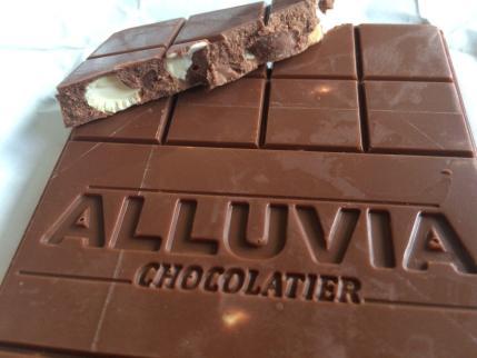 Alluvia Chocolatier Vietnamese Cacao Bean to Bar Milk Chocolate Cashews Close-up