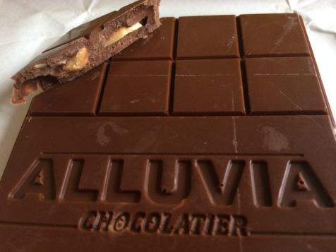 Alluvia Chocolatier Vietnamese Cacao Bean to Bar Milk Chocolate Peanuts Close-up