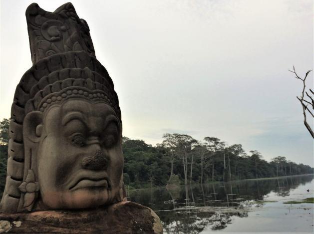 Angkor Wat Cambodia Siem Reap Path Stone Head