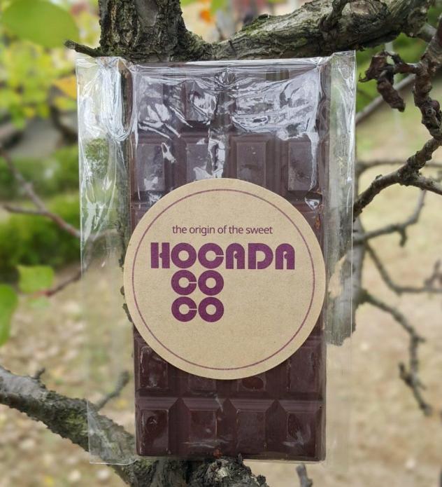 Hocada Coco South Korea Ecuador Chocolate pine nuts front of bar