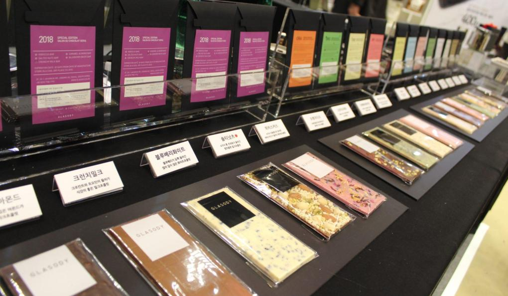 Flavored bars from Glasody chocolate in Seoul, South Korea