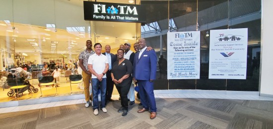 FIATM Grand Opening at the Galleria at Tyler in front of the second story entrance right in front of the old Nordstrom's department store. Left to right, front row, David Thurman, Executive Board Member, Monica Hunter, Executive Vice Chair, President of Advisory Board, YundraThomas . Back Row: Donnell P. Layne, CIO and Executive Board Member, Carl M. Dameron, president of Dameron Communications FIATM's public relations agency, Wayne Brown, Executive Board Member Kuba Brown, CEO, and David, Jordan Layne, COO.