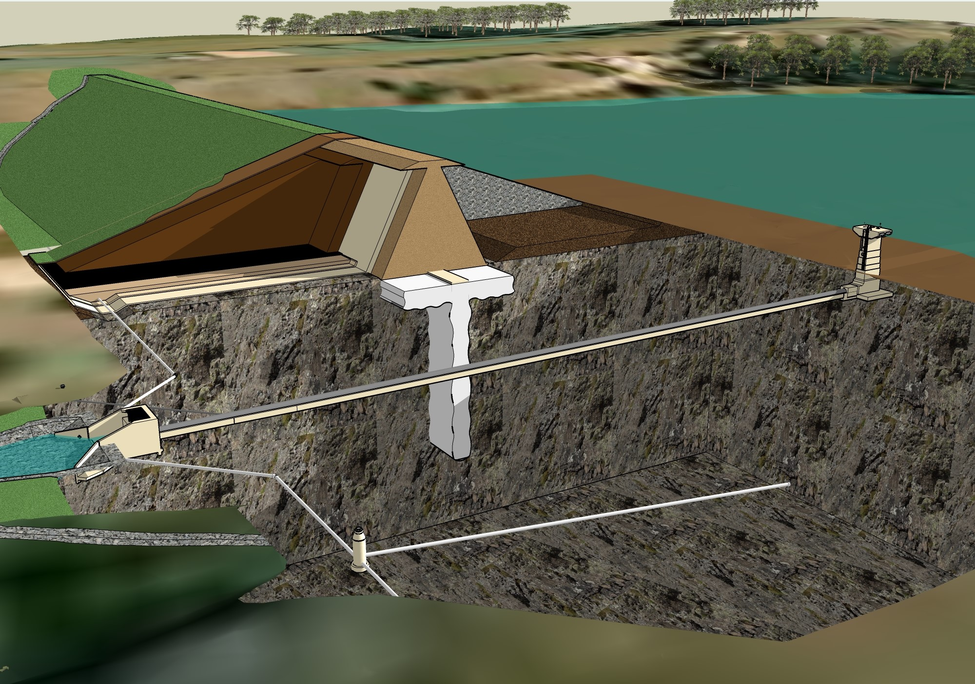 hight resolution of cross sectional view of a typical earthen embankment dam with a riser structure and conduit through the embankment typically a riser structure would be