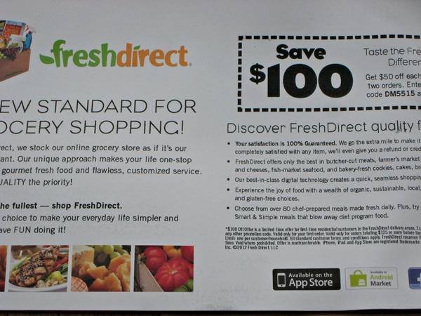 Fresh Direct 100 Coupon