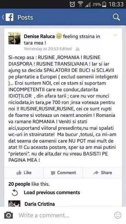 Denise Raluca declarație Facebook