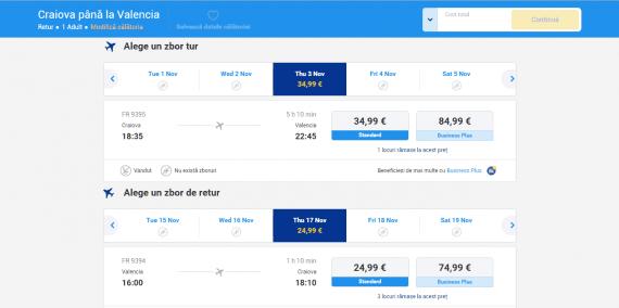 Preț Bilet Zbor Avion Craiova - Valencia