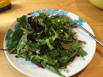 Dandelion with mixed greens salad