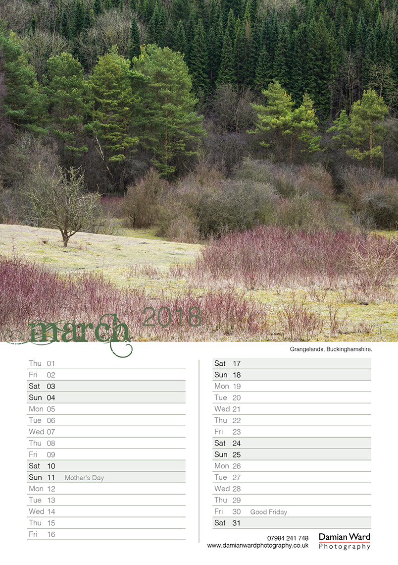 Damian Ward Photography Calendar 2018 March