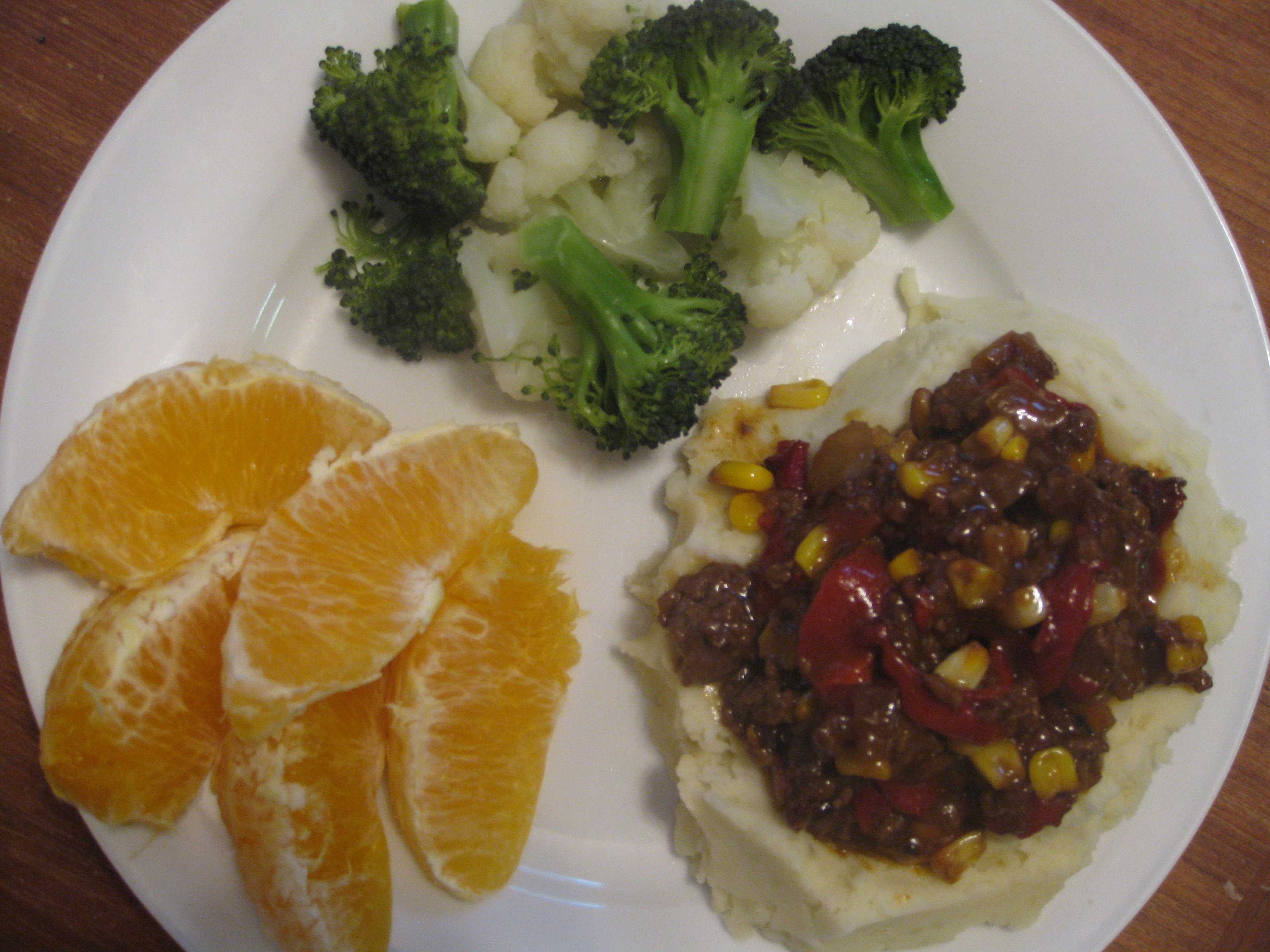 Recipe – Hamburger Hash with Steamed Vegetables