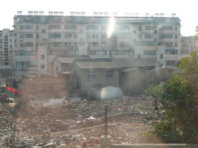 Rebuilding, train from Shanghai