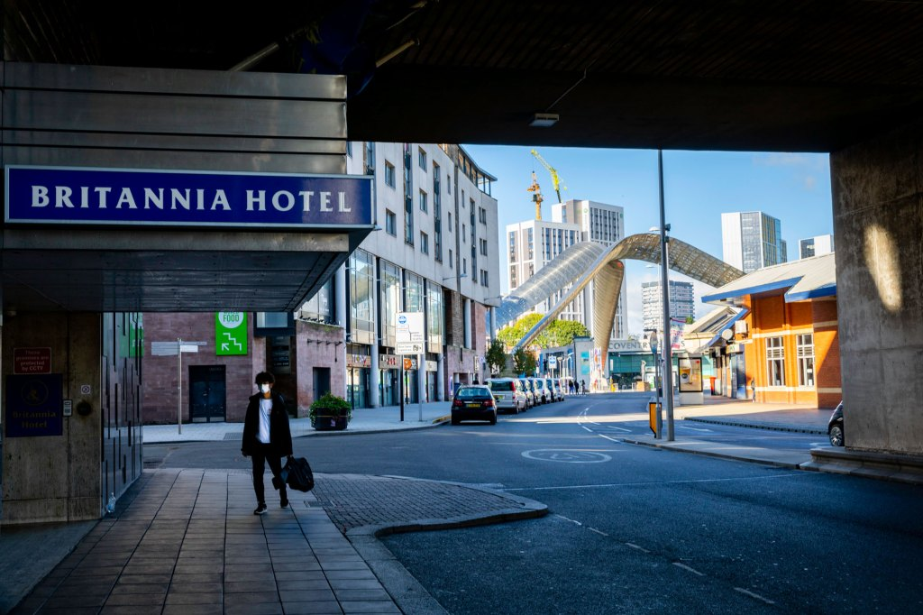 Looking past the Britannia Hotel to the Frank Whittle monument
