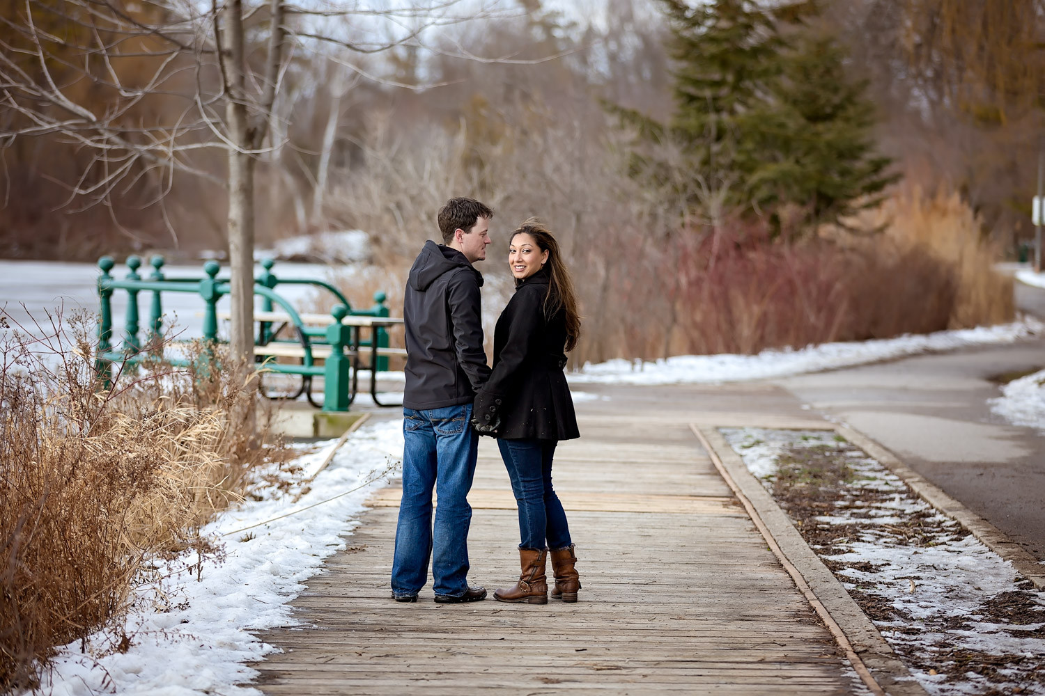 mill pond park winter engagement richmond hill Toronto wedding photographer