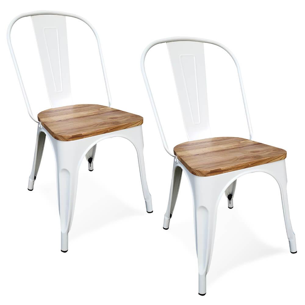 Victor stoelen metaal met houten zitting wit set van 2