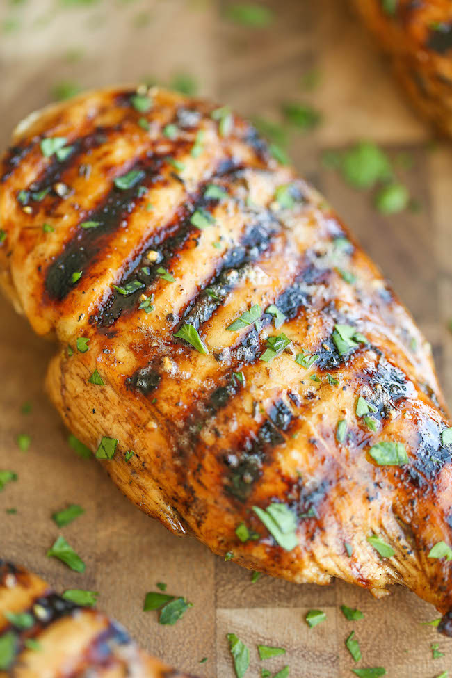 Let the chicken marinade in the refrigerator for hours before cooking minutes before you're ready to cook the chicken, remove the chicken from the marinade. For boneless skinless chicken breasts: preheat grill to medium high and lightly oil the grate.