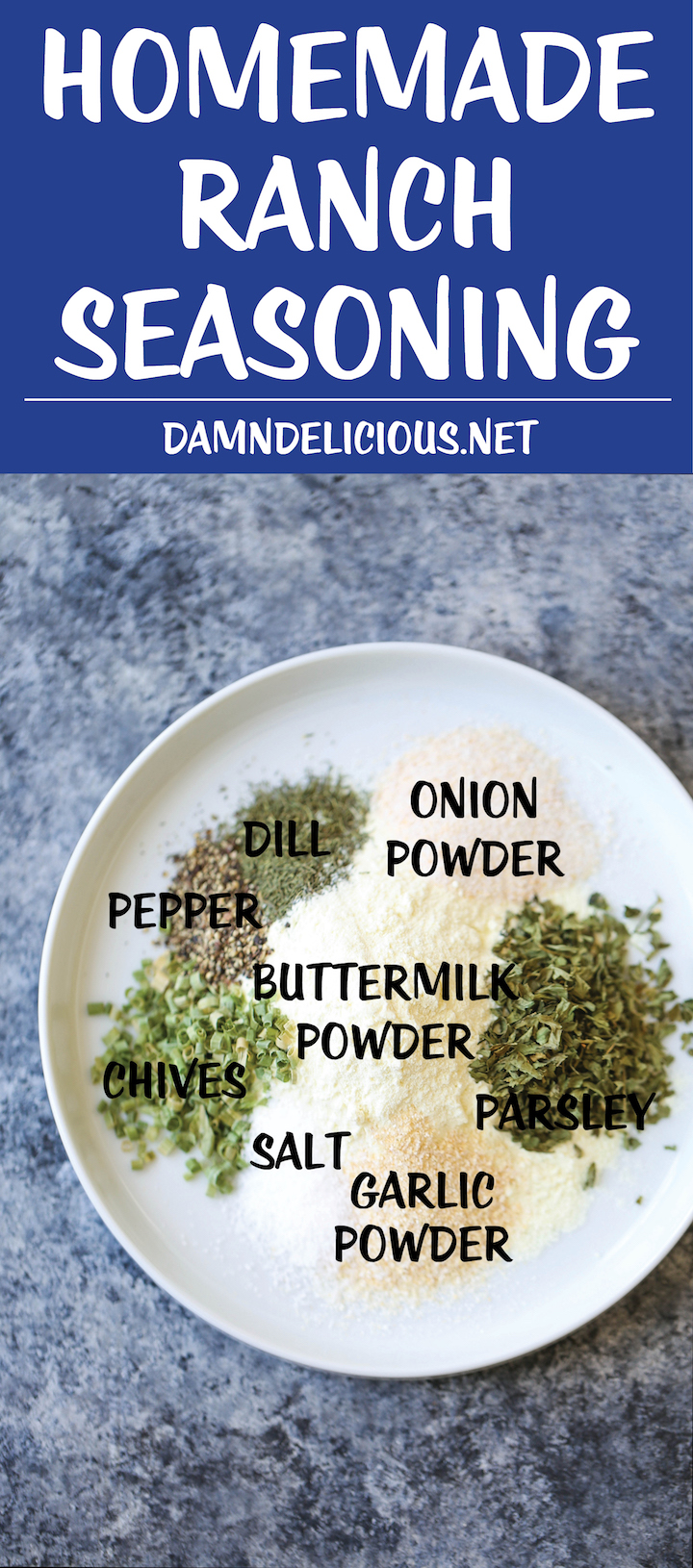 DIY Homemade Ranch Seasoning Mix - You can skip the store-bought seasoning packets. This homemade version takes 5 min using ingredients you already have!