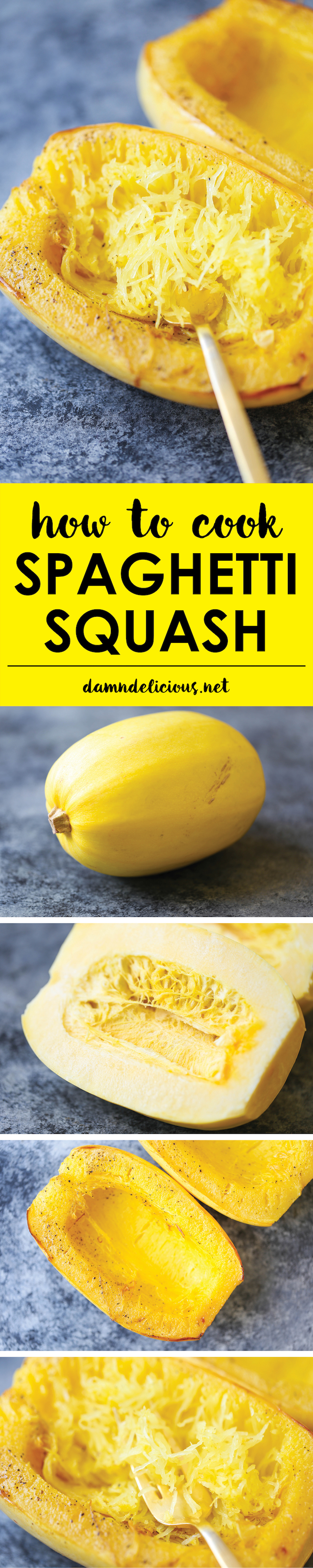 How to Cook Spaghetti Squash - The simplest and EASIEST way to cook spaghetti squash. And it's low in fat and rich in protein! Only 31 calories/serving!