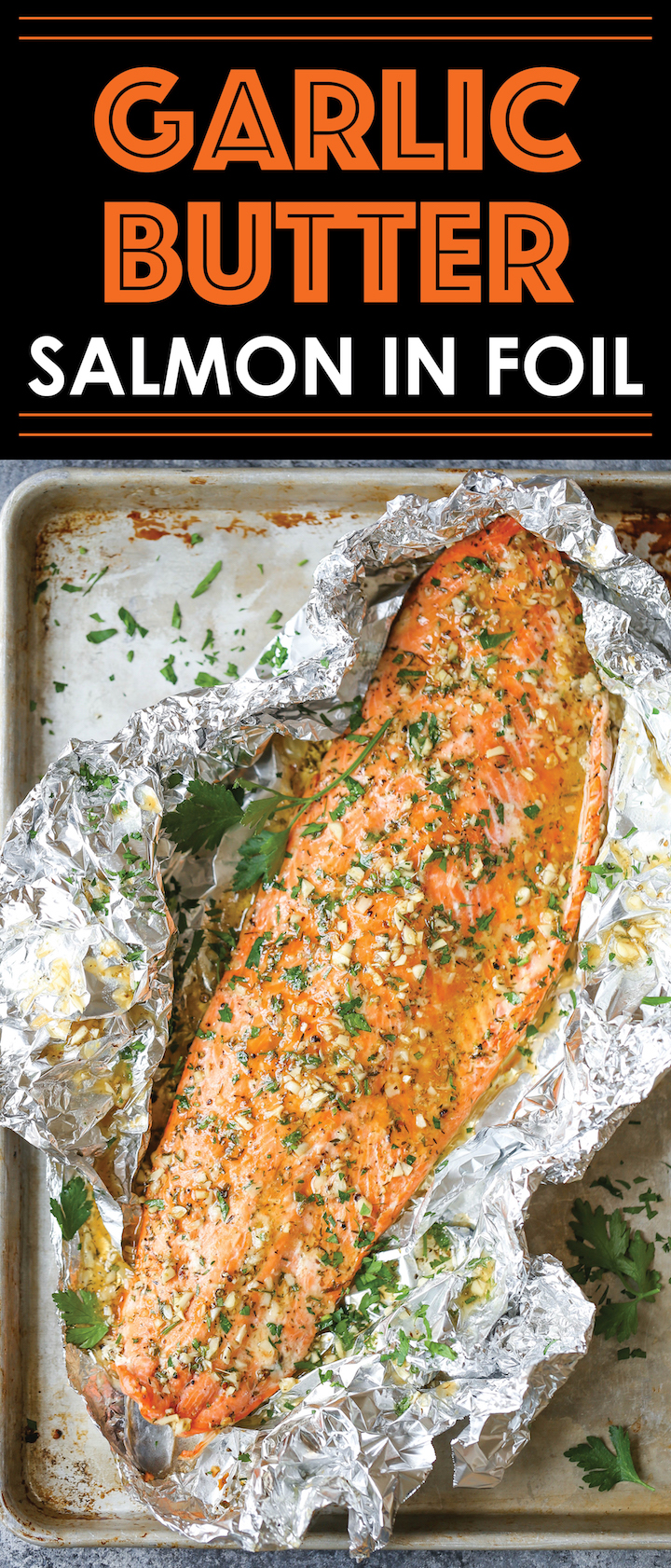 Garlic Butter Salmon in Foil - Easiest tin foil dinner! Simply bake right in your foil packet. Quick, easy, and effortless with seriously zero clean-up!!