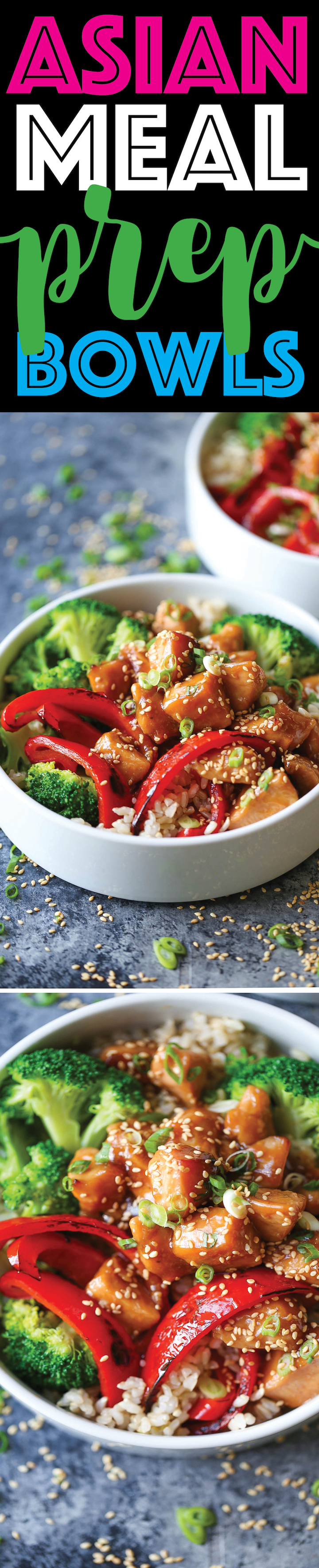 Asian Meal Prep Bowls - Meal prep for the entire week with teriyaki chicken, broccoli, bell pepper and brown rice. The sauce is also completely homemade!