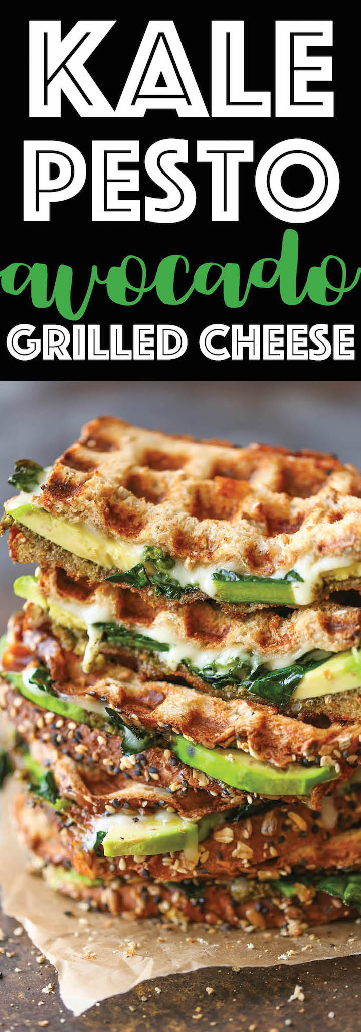 Kale Pesto Avocado Grilled Cheese - Hearty, cheesy, nutritious and filled with plenty of greens! Can be served for lunch or dinner for the entire family!