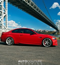 a red bmw e92 m3 with hre wheels installed right side [ 1200 x 800 Pixel ]